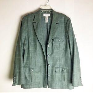 Vintage Pistachio Green Oversized Checked Blazer